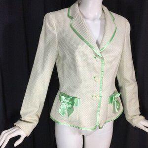 WORTH Cotton Blend Jacket Waffle Weave Green Bows